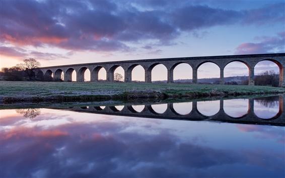 Fond d'écran Royaume-Uni, Angleterre, pont, viaduc, rivière, aube, réflexion de l'eau