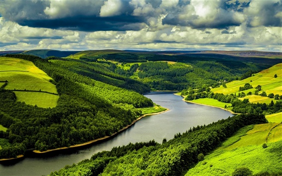 Wallpaper United Kingdom, England, river, trees, grass, clouds