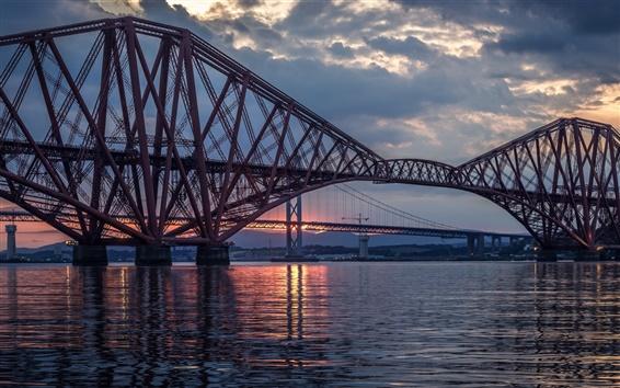 Обои Великобритания, Шотландия, Форт мост, река, ночь