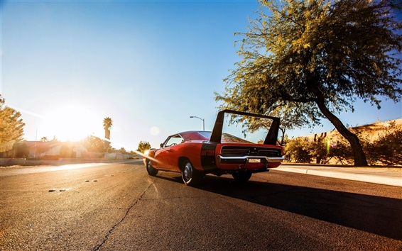 Wallpaper 1969 Dodge Charger orange supercar
