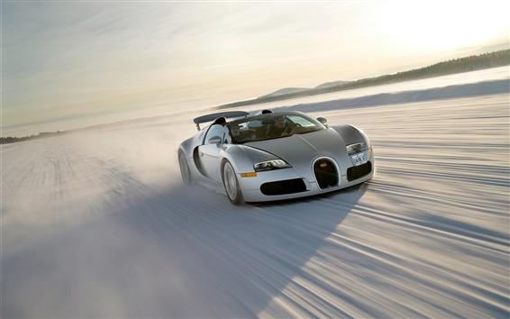 Wallpaper 2008 Bugatti Veyron Grand Sport Roadster, snow, speed