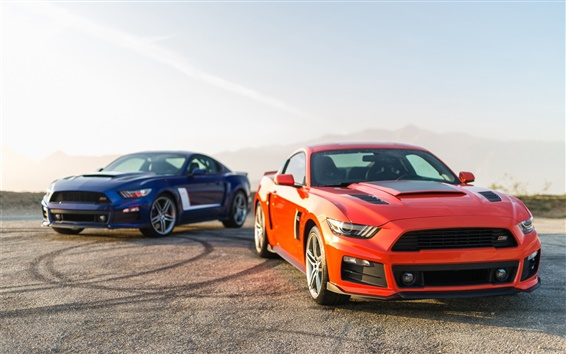 Wallpaper 2014 Ford Mustang orange and blue cars