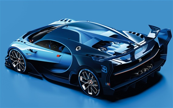 Wallpaper 2015 Bugatti Vision Gran Turismo blue supercar side view