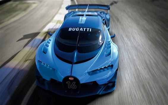 Wallpaper 2015 Bugatti Vision Gran Turismo blue supercar speed