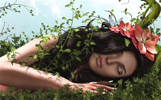 Wallpaper 3D fantasy girl, hair, flowers, grass, butterfly