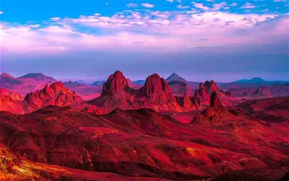 Wallpaper Algeria, Africa, red desert, mountains, rocks, clouds