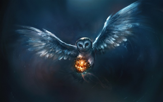 Wallpaper Animal painting, owl, Halloween, pumpkin