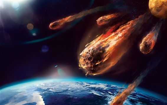 Wallpaper Art painting, meteor, planet, atmosphere, friction, fire