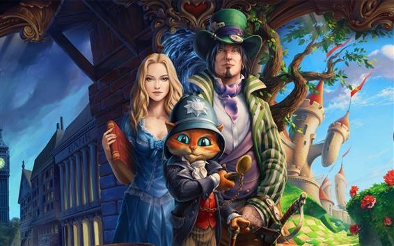 Fond d'écran Peintures d'art, l'histoire, les personnages, chat