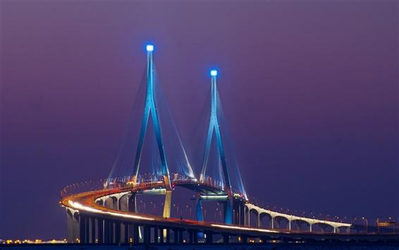 Wallpaper Asia, South Korea, Songdo, bridge, lights, night