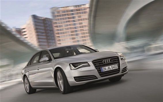 Wallpaper Audi A8L silver car speed