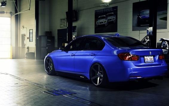 Papéis de Parede BMW 335i F30 azul carro retrovisor