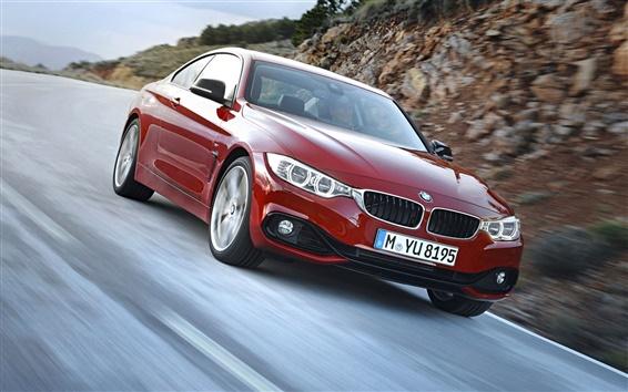 Fond d'écran BMW quatrième série couleur rouge vitesse de la voiture