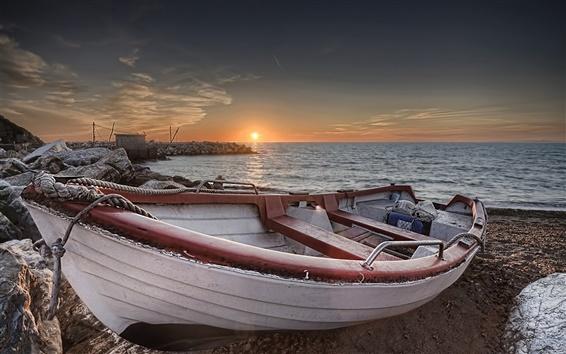 Обои Пляж, лодка, море, закат