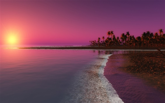Wallpaper Beach, sunset, palm trees, sea, dusk