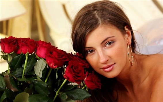 Wallpaper Beautiful girl and red rose flowers