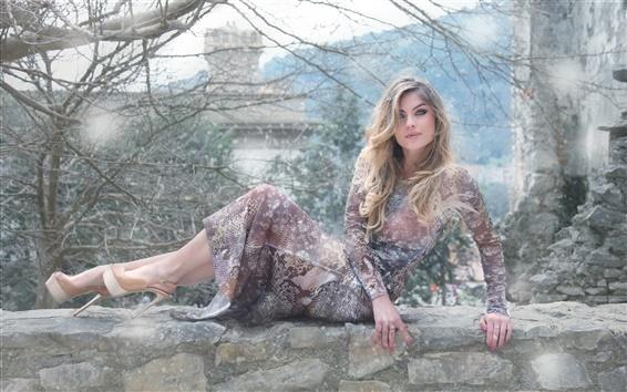 Wallpaper Beautiful girl, blonde, stone wall, rain