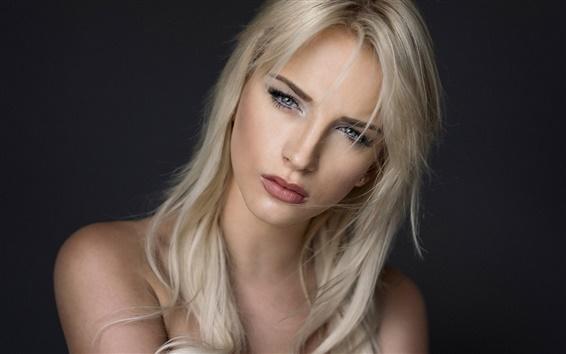 Wallpaper Blonde girl, black background