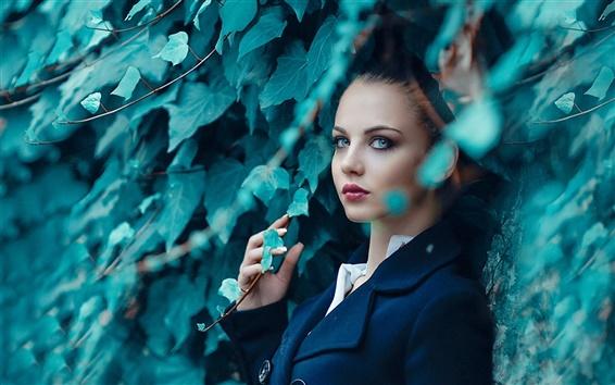 Wallpaper Blue coat girl, leaves