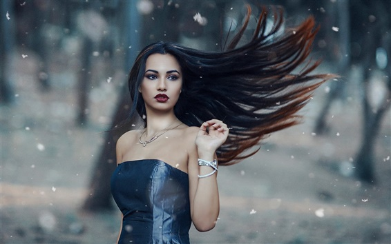 Wallpaper Blue dress, long hair girl in the wind