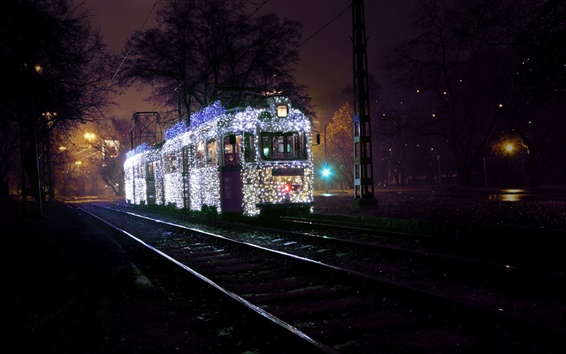 Обои Будапешт, Венгрия, город, ночь, трамвай, дорога, рельсы, деревья, освещение