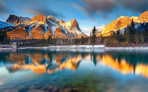 Wallpaper Canada, Alberta, Canmore, lake, mountains, trees, morning