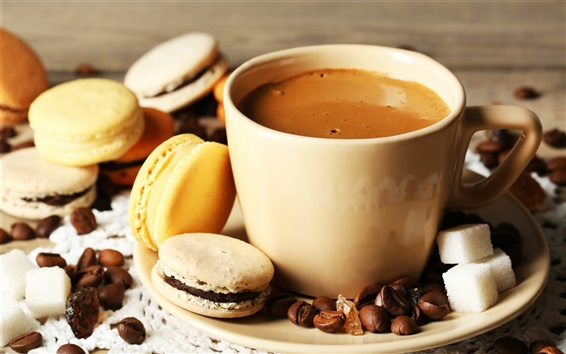 Wallpaper Coffee, cup, almond, cookies, dessert