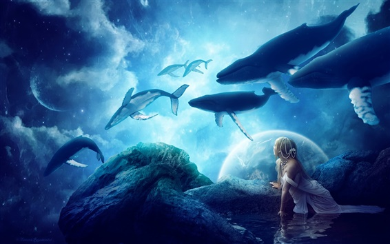 Wallpaper Creative pictures, whales, dream world, fantasy, girl