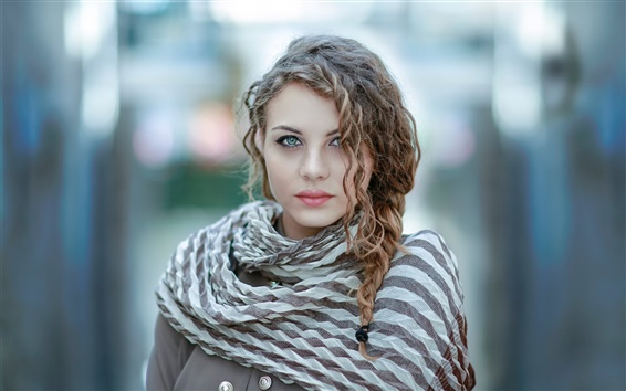 Fondos de pantalla rizado chica de moda el pelo, bokeh