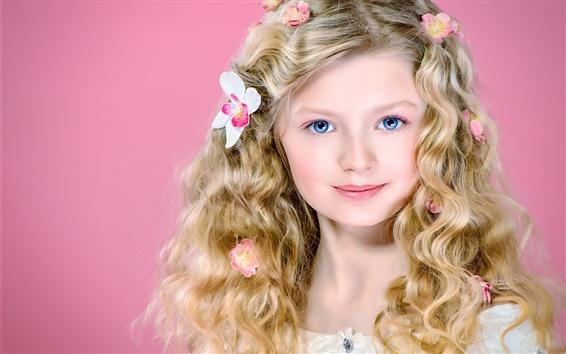 Papéis de Parede Menina loura bonito, cabelos encaracolados, olhos azuis, sorrir