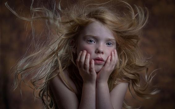 Wallpaper Cute little girl, freckles, portrait, hair flying