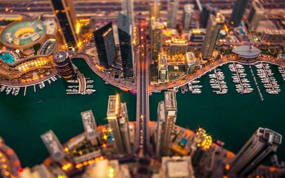 Fond d'écran Dubaï, bâtiments, nuit, lumières, port de plaisance, bateau