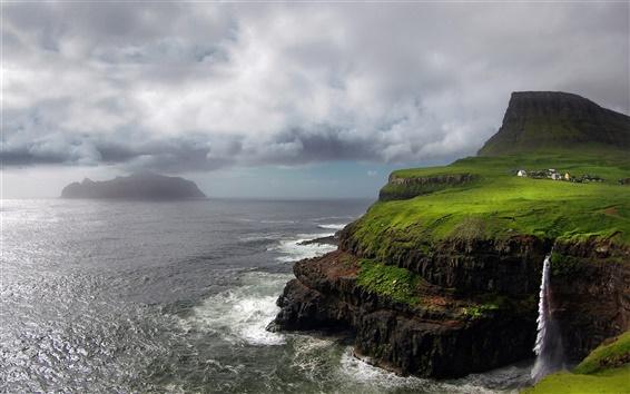 Wallpaper Faroe Islands, waterfall, Atlantic, mountain, rocks, storm, clouds