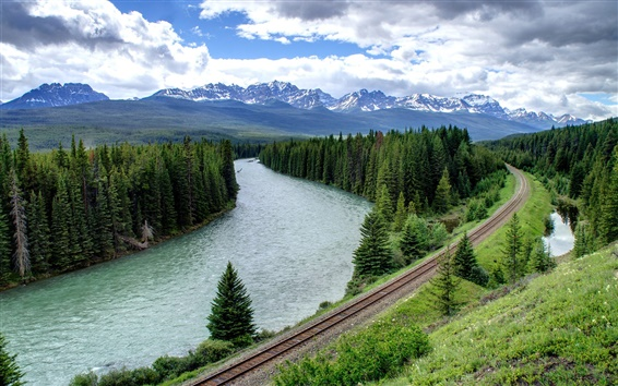 Wallpaper Forest, trees, river, railroad, mountains, clouds