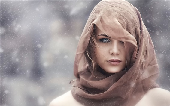 Wallpaper Girl in the winter, brown scarf