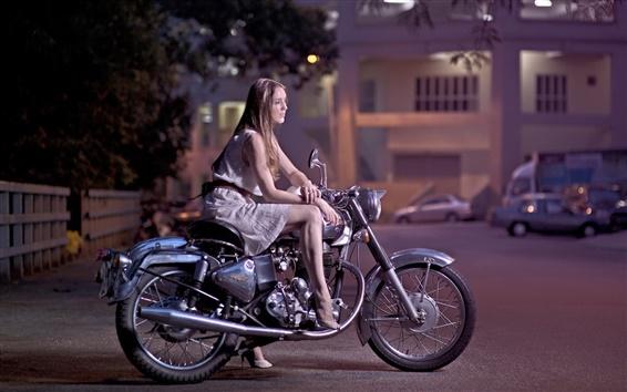 Wallpaper Girl, motorcycle, street, night