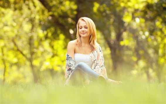 Wallpaper Girl sit on the grass, summer, bokeh