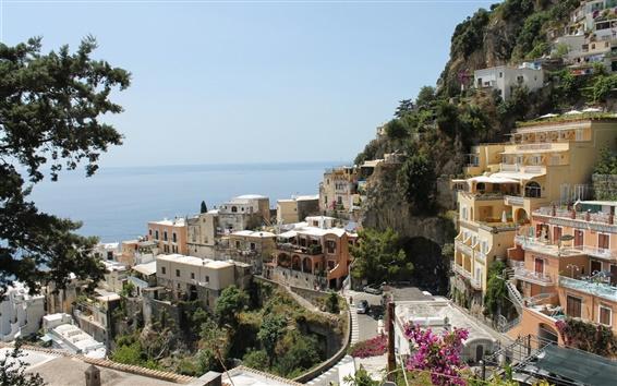 壁紙 イタリア、アマルフィ、都市、住宅、ストリート、海