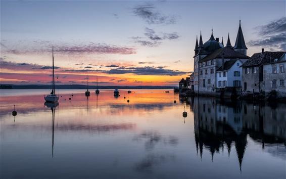 Fond d'écran Lac de Constance, le château de Steckborn, Thurgau, Suisse, bateaux, crépuscule