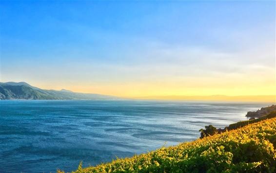 Wallpaper Lake, mountains, sky, clouds, sunrise, lakeside