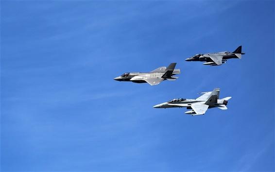 Wallpaper Lockheed Martin, fighters flight, blue sky