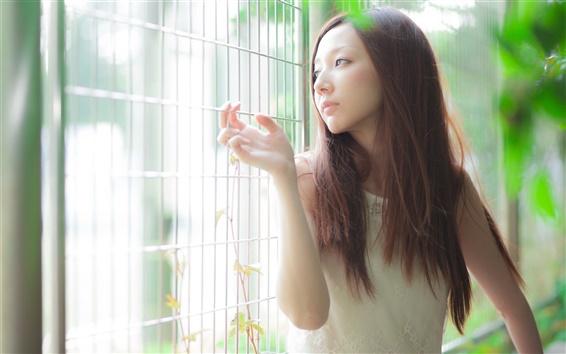 Fond d'écran Les cheveux longs fille asiatique, la lumière, d'une clôture
