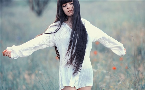 Wallpaper Long hair girl, white dress, meadow, dream