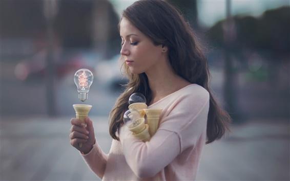 Обои Магия девушка, воображение, свет, сила