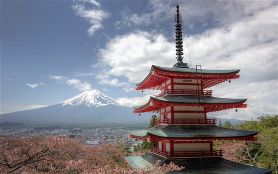 Обои Гора Фудзи, Chureito Пагода, Fujiyoshida, Япония, сакура