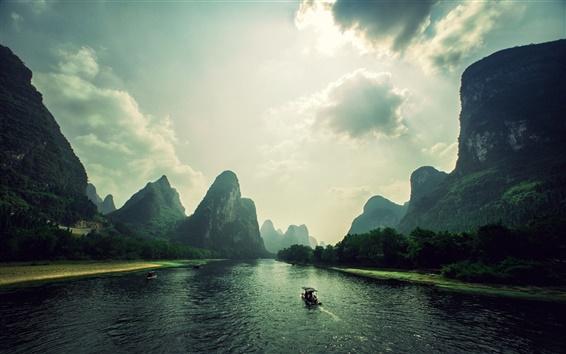 Wallpaper Mountains, clouds, rocks, river, boat, Vietnam landscape