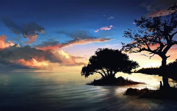 Wallpaper Nature scenery painting, night, trees, lake, clouds