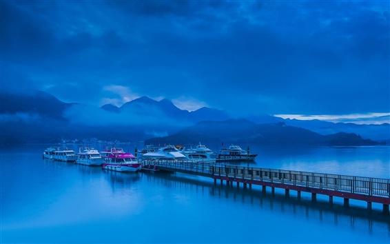 배경 화면 밤, 푸른 스타일, 산, 호수, 부두, 보트, 구름