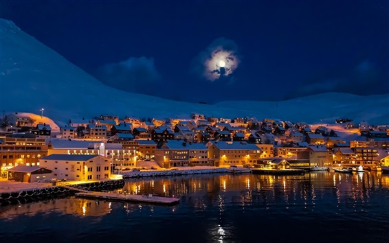Wallpaper Night, city town, moon, mountains, snow, winter, house, lake, lights