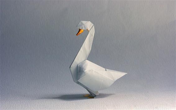 Fond d'écran l'art de l'origami, cygne blanc